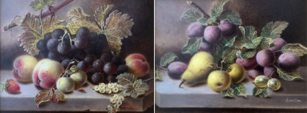 PAIR OF OILS – Fruit on a Marble Ledge